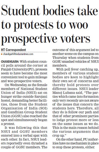 Students bodies take to protest to woo prospective voters (Panjab University)