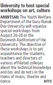 University to host special workshop on art (Guru Nanak Dev University (GNDU))