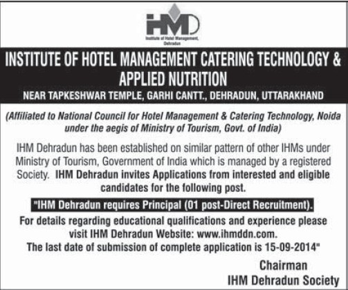 Principal required (Government Institute of Hotel Management (GIHM) and Catering Technology and Applied Nutrition)