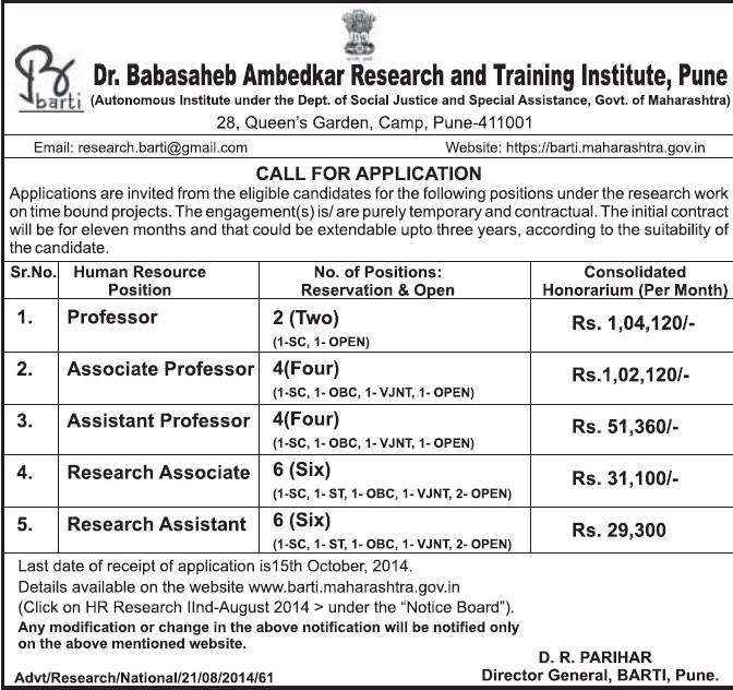 Research Asstt (Dr Babasaheb Ambedkar Research and Training Institute)