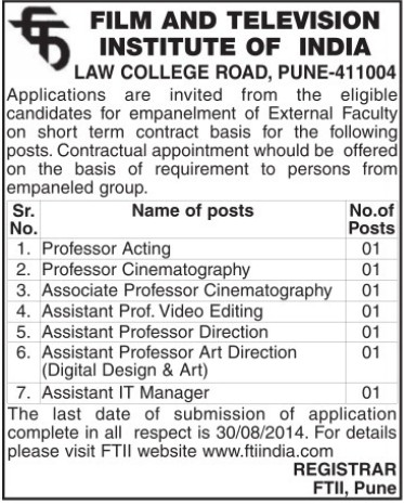 Associate Professor in Cinematography (Film and Television Institute of India)