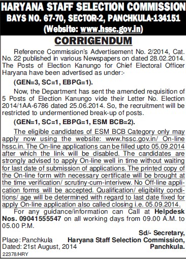 Chief Electrol Officer (Haryana Staff Selection Commission (HSSC))
