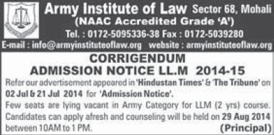 LLM Course (Army Institute of Law)