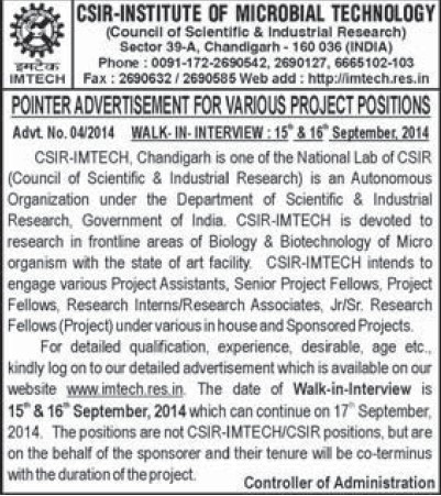 Various project position (Institute of Microbial Technology (IMTECH))