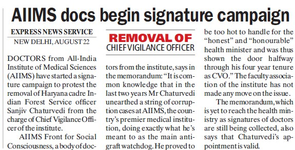 AIIMS docs begin signature compaign (All India Institute of Medical Sciences (AIIMS))