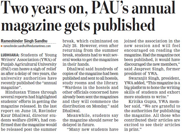 PAU annual magazine published (Punjab Agricultural University PAU)
