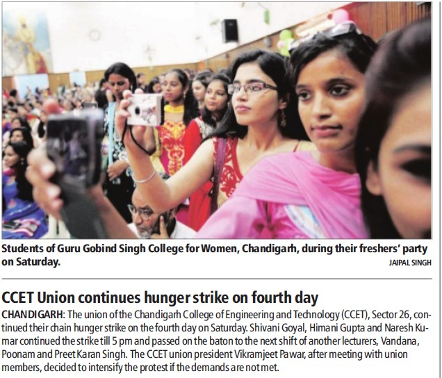 CCET Union continues hunger strike on fourth day (Chandigarh College of Engineering and Technology (CCET))