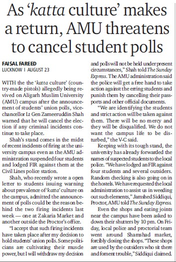 AMU threatens to cancel student polls (Aligarh Muslim University (AMU))