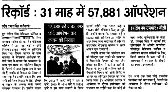 57881 operations in 31 months (Guru Gobind Singh Medical College)
