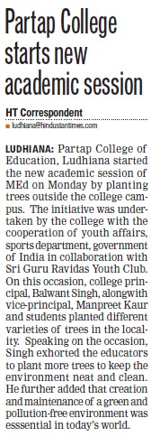New academic session starts (Partap College of Education)