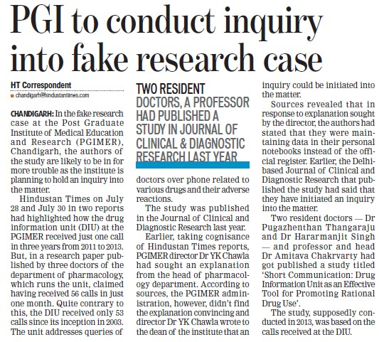 PGI to conduct inquiry into fake research case (Post-Graduate Institute of Medical Education and Research (PGIMER))