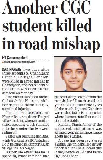 Another CGC student killed in road mishap (Chandigarh Group of Colleges)