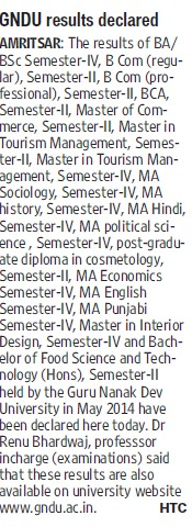GNDU results declared (Guru Nanak Dev University (GNDU))