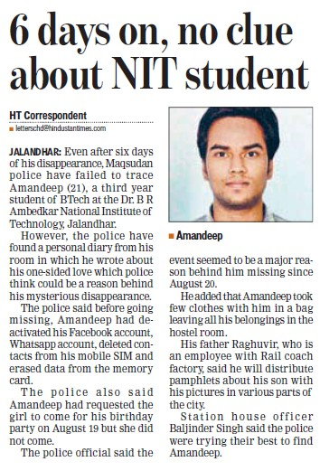 Six days on, no clue about NIT student (Dr BR Ambedkar National Institute of Technology (NIT))