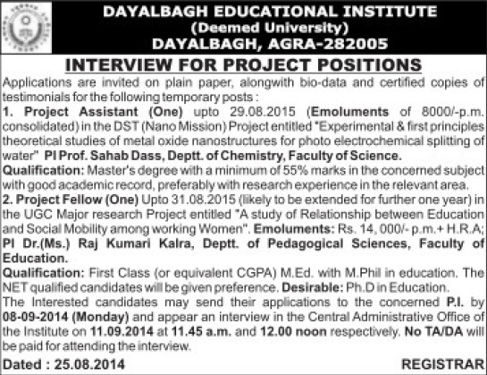 Project Assistant (Dayalbagh Educational Institute Deemed University)