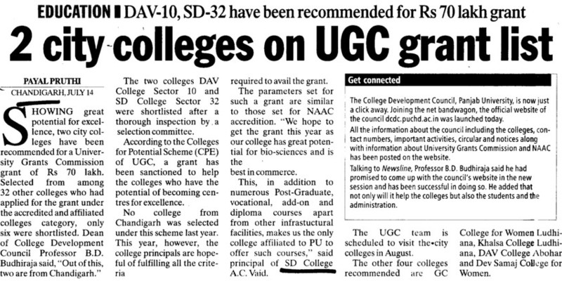 Two city college on UGC grant list (GGDSD College)