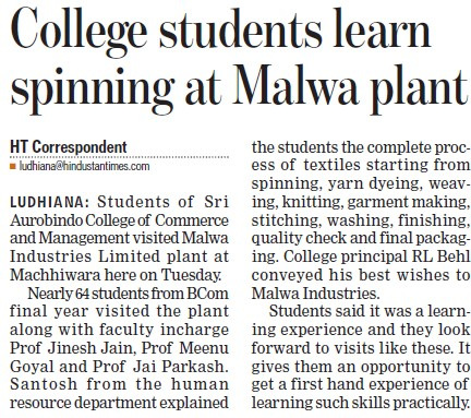 College students learn spinning at Malwa Plant (Sri Aurobindo College of Commerce and Management)