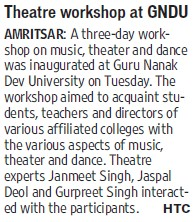 Theatre workshop at GNDU (Guru Nanak Dev University (GNDU))