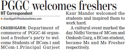 PGGC welcomes freshers (Post Graduate Government College, Co-Educational (Sector 46))