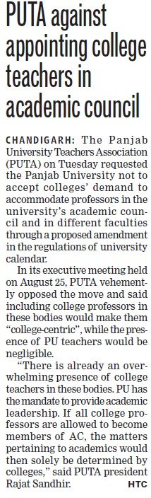 PUTA against appointing college teachers in academic council (Panjab University Teachers Association (PUTA))