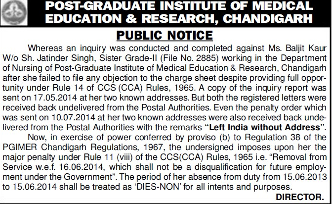 Inquiry against Ms Baljit Kaur (Post-Graduate Institute of Medical Education and Research (PGIMER))