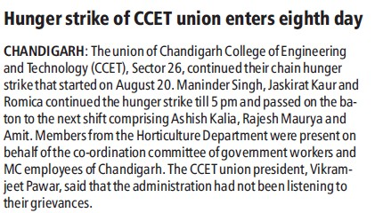 Hunger strike of students held (Chandigarh College of Engineering and Technology (CCET))