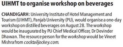Workshop on beverages (PU University Institute of Hotel Management & Tourism (PU UIHMT))
