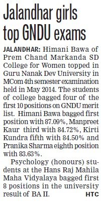 Manpreet Kaur done top in MCom (Guru Nanak Dev University (GNDU))