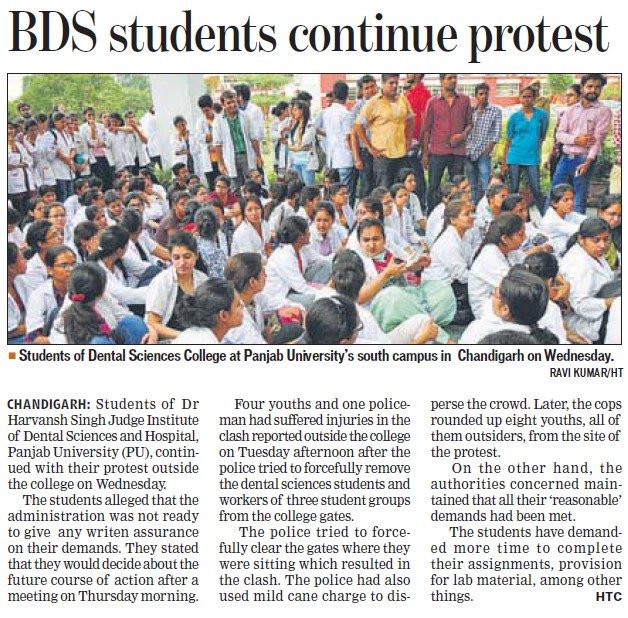BDS students continue protest (Dr Harvansh Singh Judge Institute of Dental Sciences and Hospital)