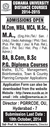 MBA and MSc Programme (Osmania University)
