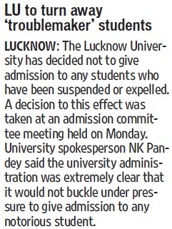 LU to turn away troublemaker students (Lucknow University)