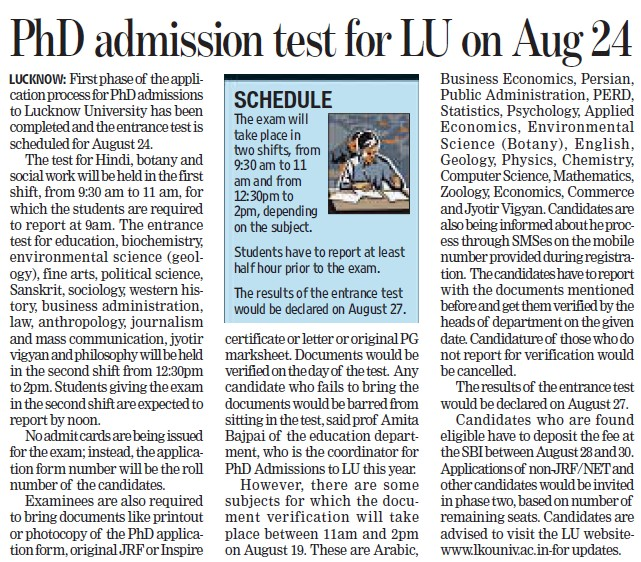 PhD admission test for LU on Aug 24 (Lucknow University)
