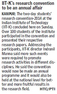 IITK research convention to be an annual fair (Indian Institute of Technology (IITK))