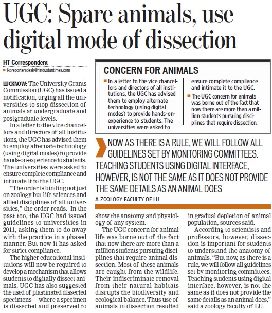 Spare animals use digital mode of dissection (University Grants Commission (UGC))