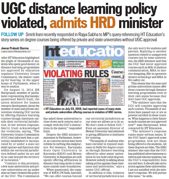 UGC distance learning policy violated (University Grants Commission (UGC))