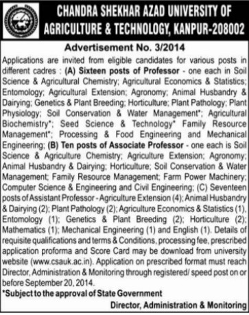 Professor for Agri Chemistry (Chandra Shekhar Azad University of Agriculture and Technology (CSAUK))