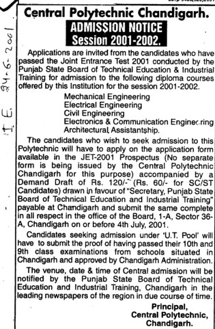 Diploma in ME and CE (Chandigarh College of Engineering and Technology (CCET))