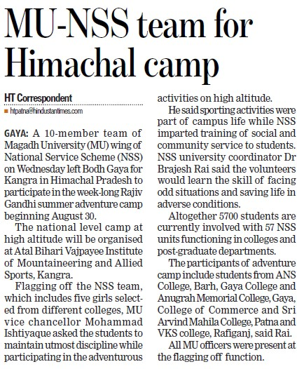 NSS team for Himachal camp (Magadh University)