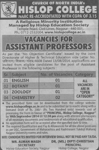 Asstt Professor for Botany (Hislop College)