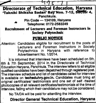 Lecturer for Foreman Instructor (Directorate of Technical Education Haryana)