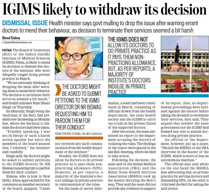 IGIMS likely to withdraw its decision (Indira Gandhi Institute of Medical Sciences (IGIMS))