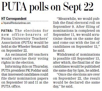 PUTA polls on Sept 22 (Panjab University Teachers Association (PUTA))