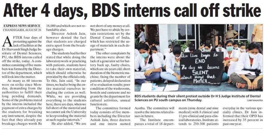 BDS interns call off strike (Dr Harvansh Singh Judge Institute of Dental Sciences and Hospital)