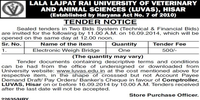 Supply of Electronic weigh bridge (Lala Lajpat Rai University of Veterinary and Animal Sciences)
