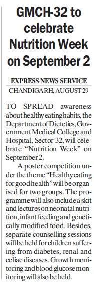 Nutrition week celebrated (Government Medical College and Hospital (Sector 32))