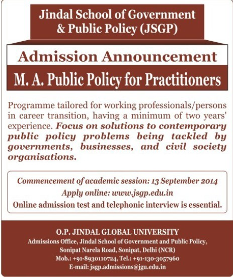 MA in Public Policy (OP Jindal Global University)