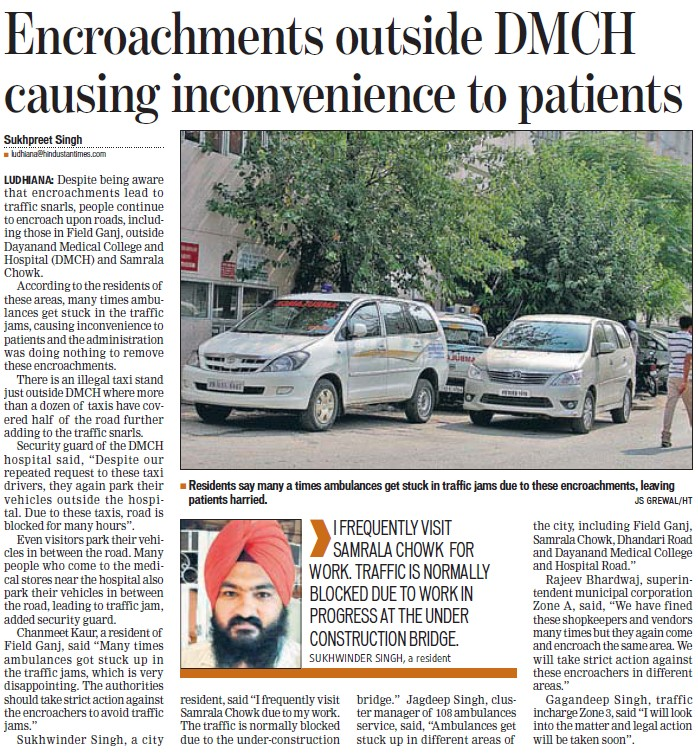 Encroachments outside causing inconvenience to patients (Dayanand Medical College and Hospital DMC)