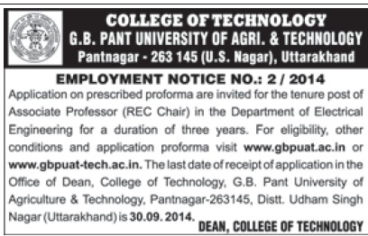 Associate Professor (Govind Ballabh Pant University of Agriculture and Technology GBPUAT)