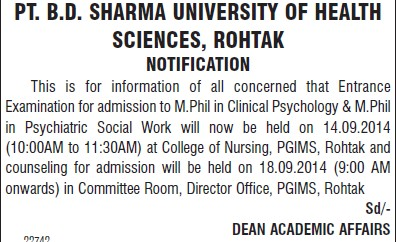 M Phil in Clinical Psychology (Pt BD Sharma University of Health Sciences (BDSUHS))