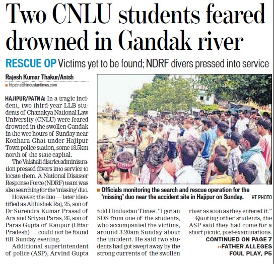 Two students feared drowned (Chanakya National Law University (CNLU))